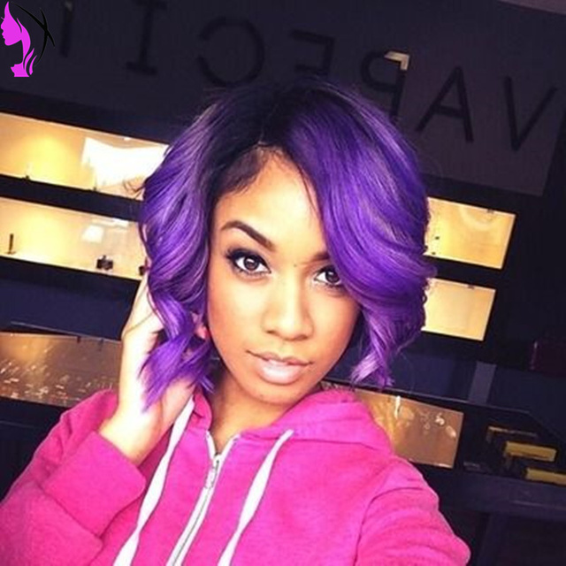 Free Shipping Body Wavy 1b T Purple Ombre Synthetic Lace Front Wigs