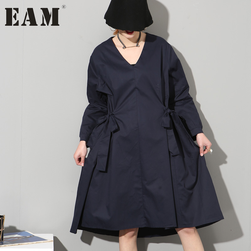 EAM 2017 spring new Fashion solid color long sleeve Bow dark blue loose dress women