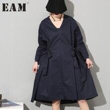 [EAM] 2017 новые зимние модные однотонные Длинные рукава Лук темно-синие свободное платье Женская мода прилив темперамент AS191218