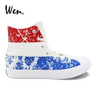 Wen Hand Painted Shoes Design Netherlands Flag Canvas Shoes Men Women Sneakers Laced Plimsolls Espadrilles Flat Zapatillas