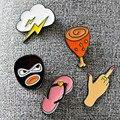 Frete grátis Personalizado estilo moda lovely girl broche Tong qu chinelos bonitos dos desenhos animados/gestos/flash/assaltante/perna de frango broche pin