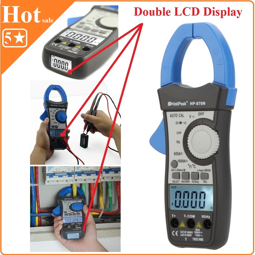 HoldPeak HP-870N Auto Range DC AC Digital Clamp Meter Multimeter Pinza Amperimetrica Amperimetro True RMS Frequency Backlight mini multimeter holdpeak hp 36c ad dc manual range digital multimeter meter portable digital multimeter page 2