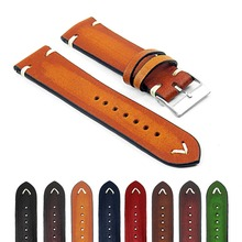 Onthelevel Vintage 18mm 20mm 22mm Watch Strap Multi-color Handmade Leather Classical Replacement Band #C