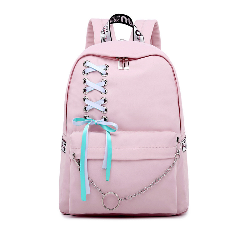 Fashion Waterproof Nylon Women Backpack Korean Personality Drawstring Bow Chains Design College Girls Bookbags Bagpack