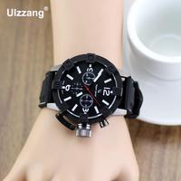 Hohe Qualität V6 Militärarmee Sport Quarzuhr Armbanduhren für Männer Männlichen Gummi Silikon Gel Band Schwarz