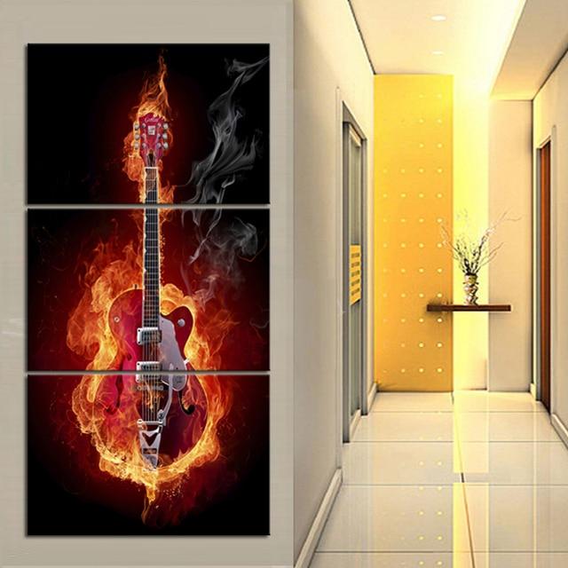 electric flame burning guitar panel large vertical wall art