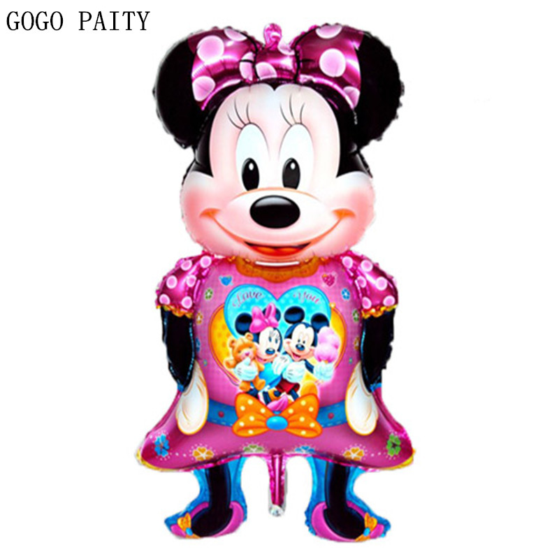 GOGO PAITY Free shipping 1pcs perspective cartoon Minnie foil balloon shaped oversized Minnie Mouse 116cm