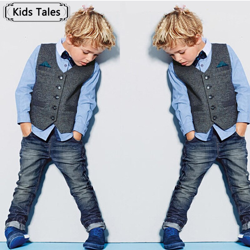 цена на ST150 2018 Beautiful baby boy gentleman clothing sets 4 pcs. set kids clothes set shirt +vest +jeans +bow tie for boy retail