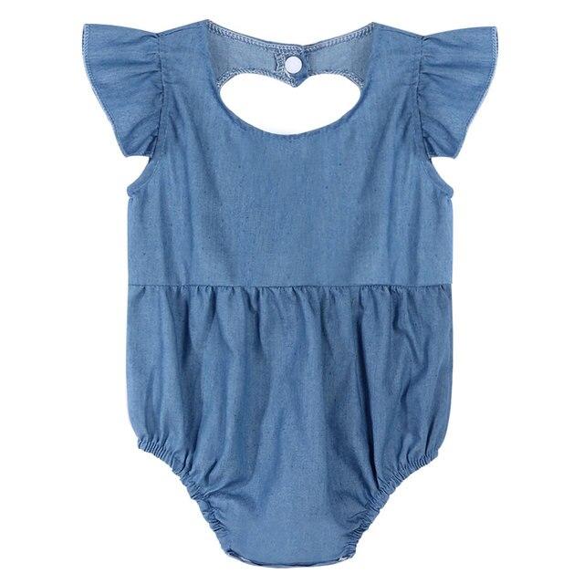ee41d3797b9 Cute Newborn Baby Girl Romper Clothes Infant Denim Rompers Back Heart  Hollow Jumpsuit Sunsuit Outfits