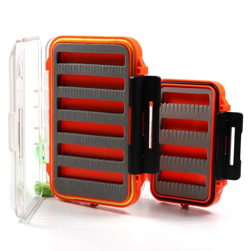 Bimoo 1PCS 2 Layer Fly Fishing Pocket Box Waterproof Case for Nymph Dry Wet Flies Trout Carp Salmon Fishing Fly Box S L