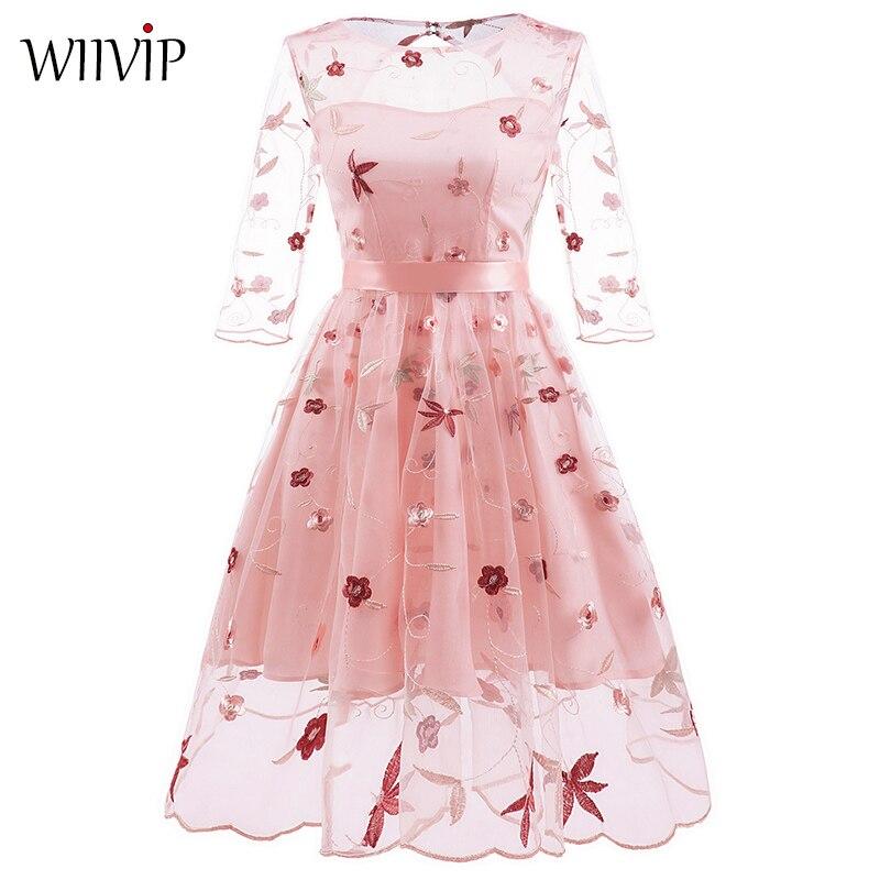 Nouvelle femme été élégant 3/4 manches o-cou broderie Floral haute qualité a-ligne robe mode printemps belle fête longue robe 9800