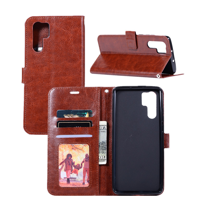 50pcs lot Crazy Horse Grain Wallet Flip PU Leather Protector Phone Case Cover For Huawei P30