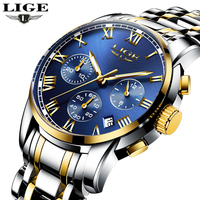LIGE Mens Watches Brand Luxury Fashion Business Quartz Watch Men Sport Full Steel Waterproof Wristwatch Clock