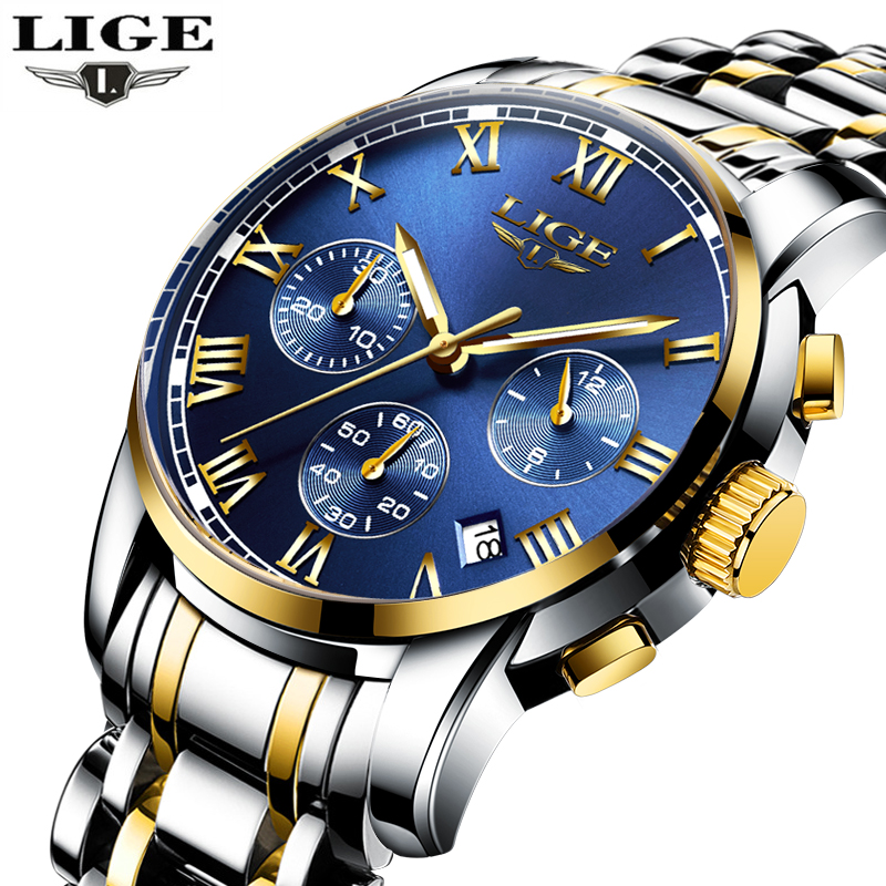 LIGE Mens Watches Brand Luxury Fashion Business Quartz Watch Men Sport Full Steel Waterproof Wristwatch Clock Relogios Masculino curren watches mens brand luxury quartz watch men fashion casual sport wristwatch male clock waterproof stainless steel relogios