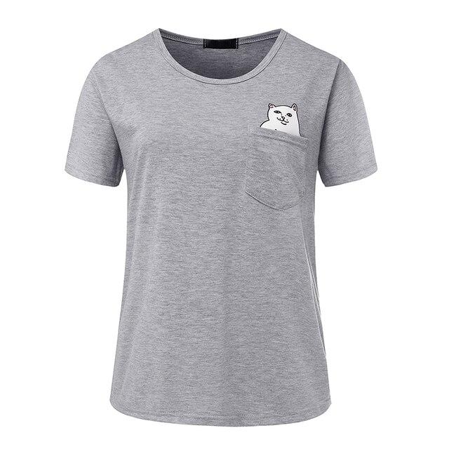 T shirt frauen 2018 marke mittelfinger tasche katze print plus größe frauen kurze T-shirt sommer t-shirt vestidos günstige tuch t007