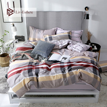 Liv-Esthete 2019 Hot Sale New Modern Classic Stripe Bedding Set High Quality Soft Duvet Cover Pillowcase Bed Linen Fitted Sheet