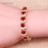 L & B Miglior regalo di Compleanno Per Le Donne Red Creato Granato Bianco Zirconia Gioielli di Moda