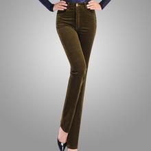2018 Spring Velvet High waist casual corduroy pants straight trousers stretch Slim