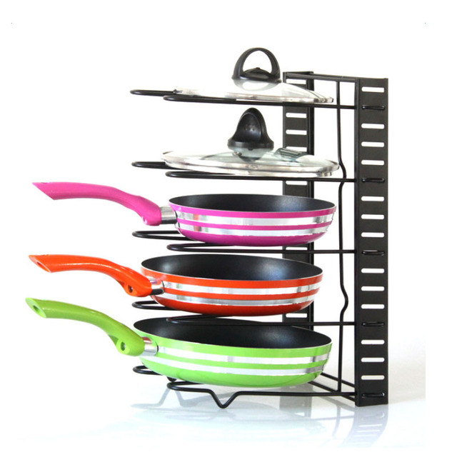 Kitchen Organizer Multi Tiers Pot Frying Pan Lid Cover Iron Storage Rack  Cookware Stand Holder Shelves
