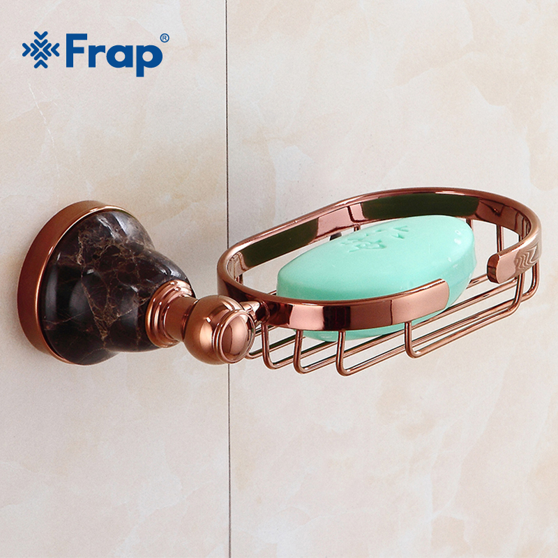 Frap Soap Dishes Solid Brass Rose Gold Soap Holder Soap Storages Shelves Wall Mounted Bathroom Accessories Soap Dish Y18012 european soap dishes gold finish brass soap dish wall mounted bathroom accessories bathroom furniture toilet soap holder