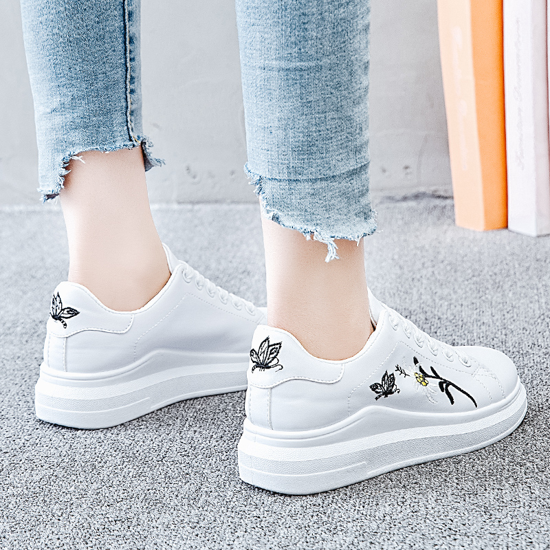 Women Casual Shoes 2018 Spring Autumn PU Leather Women Shoes Fashion Embroider Lace-Up Women Breathable White Women Sneakers simple pu leather and lace up design sneakers for women