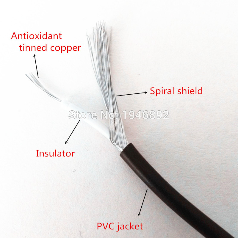 High Quality UL1185 26AWG Single Core Conductor Tinned copper Sprial Shielded audio cable Speaker Wire cable Signal Cable