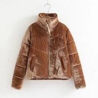 EAM 2018 Winter New Pattern Velvet Fashion All Match Keep Warm Cotton Padded Short Type