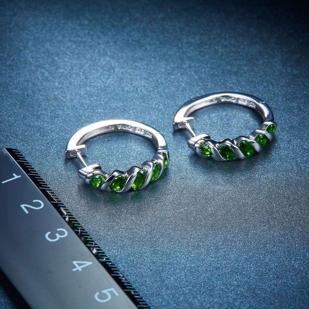 Hutang femmes Clip boucles d'oreilles 1.77ct Chrome naturel Diopside solide 925 Sterling argent vert pierre gemme Fine classique bijoux nouveau-in Boucles d'oreilles from Bijoux et Accessoires    3