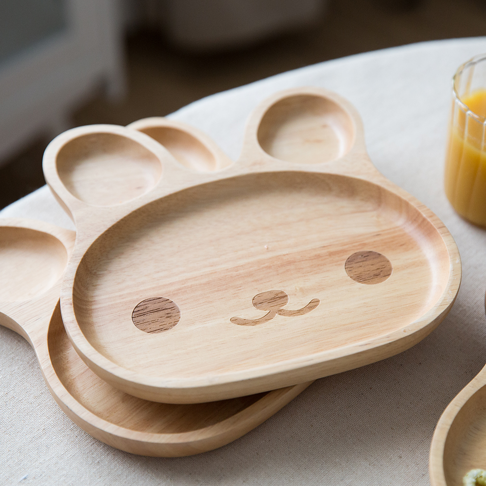 WOODEN Bamboo kids dinnerware rabbit breakfast plate for children creative nice design rice dish fruit cake display for mom-in Dishes u0026 Plates from Home ... & WOODEN Bamboo kids dinnerware rabbit breakfast plate for children ...