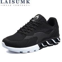 цена 2019 LAISUMK Spring Summer Casual Leather Mesh Shoes Men Breathable Gum Shoes Male Lace up Footwear Low Walking Sneakers онлайн в 2017 году