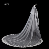 3.5 Meter Cathedral Wedding Veils Flower Veil Beaded Headdresses Lace Edge Bridal Veil 2018 NEW