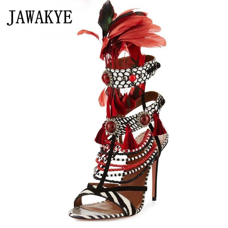 Летние сандалии с перьями, в богемном стиле, в полоску, с кисточками и бусинами, женская обувь для вечеринок на высоком каблуке