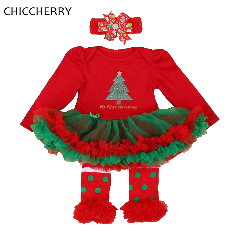 My First Christmas Costume Long Sleeve Lace Romper Dress Headband Leg Warmers Baby Girl Clothes Sets