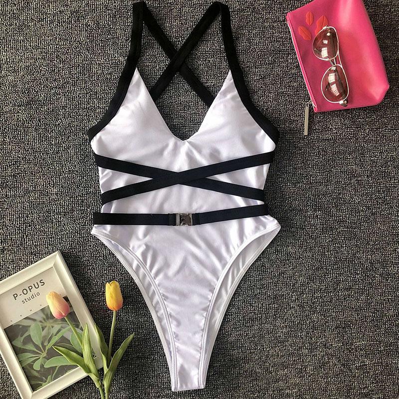 Одноцветный купальный костюм с бретельками, модель 2020 года, сексуальный купальник для женщин, с поясом, с высокой посадкой, пляжная одежда, u-... 45
