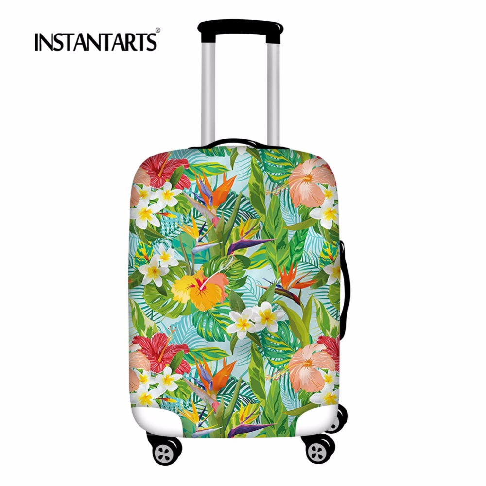 INSTANTARTS Tropical Plant Print Luggage Cover Travel On Road Elastic Protective Case Cover Suit For 18-30 Suitcase Accessories