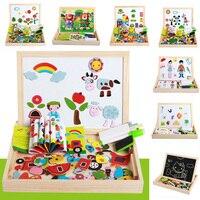 Magnetyczne Puzzle Wielofunkcyjny Drewniana Tablica Tablica Zwierząt Rysunek Sztalugi Pokładzie Arts Zabawki dla Dzieci Dla Dzieci