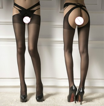 Summer Spring Sexy Womens Black Open Crotch Stockings Crotchless Stretchy Sheer Pantyhose Lingerie Tights