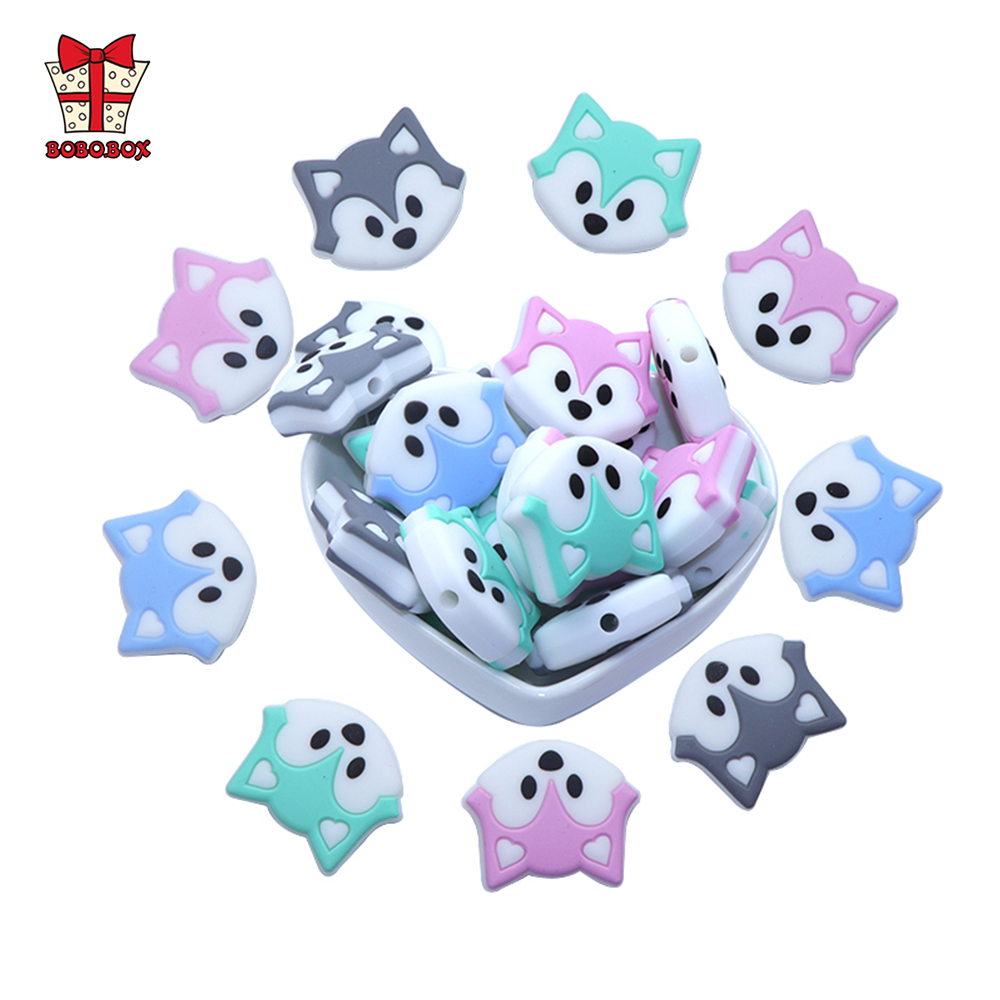 BOBO.BOX 3pcs/lot Baby Teether Beads Mini Fox Pacifier Clips Chain Beads Pearl Silicone Teething Toys Food Grade Mini Teether