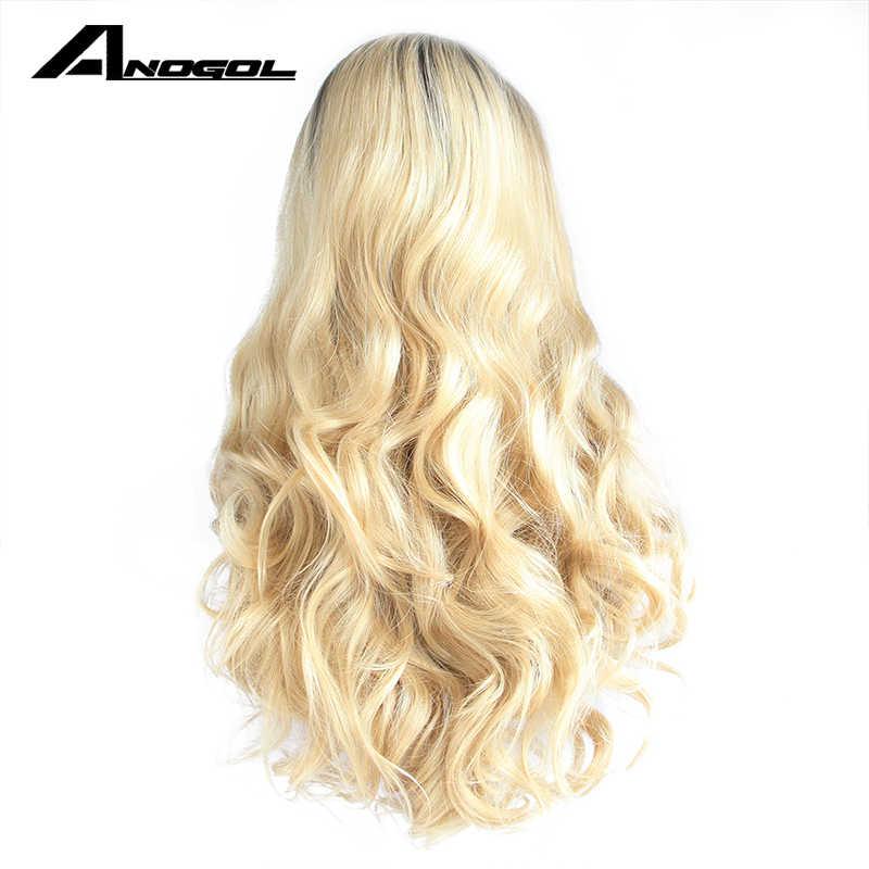 Anogol бесклеевые синтетические парики на шнурках спереди длинные волнистые золотые светлые Омбре, с темными корнями термостойкие волокна волос парики для женщин