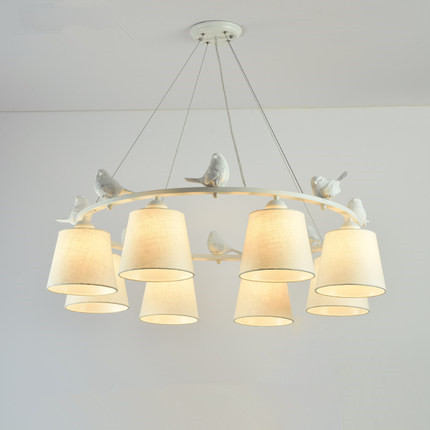 Birds LED Chandelier with Linen Lampshades E27 Cloth Chandeliers For Living Room Romantic Kitchen Lighting FixturesBirds LED Chandelier with Linen Lampshades E27 Cloth Chandeliers For Living Room Romantic Kitchen Lighting Fixtures