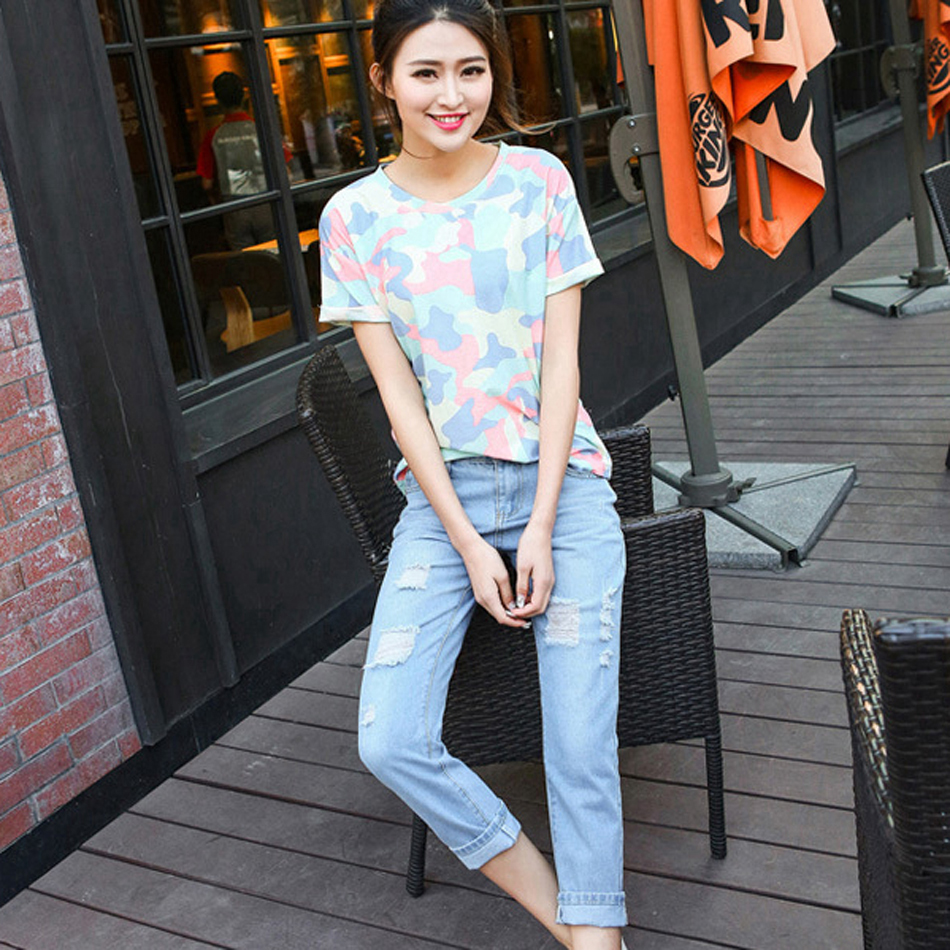 Spring Summer New Jeans Women Ankle Length Straight Mid Waist Jeans Lady Ripped Loose Fashion Trousers Plus Size Boyfriend style plus size 2016 spring new vintage jeans ladies mid waist loose slim jeans trousers casual jeans women