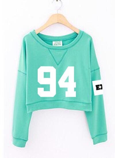 Number Printed Crop Sweatshirts