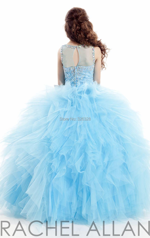 Sky Blue Fuchsia White Ball Gown Floor Length Girls Dresses