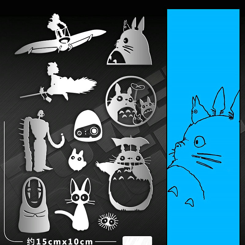 11pcs/set Classic My Neighbor Totoro Cartoon Stickers Metal Stickers For Phone Laptop Stiker Children DIY Toy Sticker