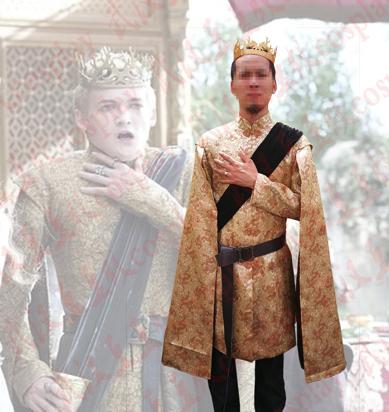 Game of Thrones mens King Joffrey costume  Baratheon King Joffery Golden clothing costumse role play full set clothing any size