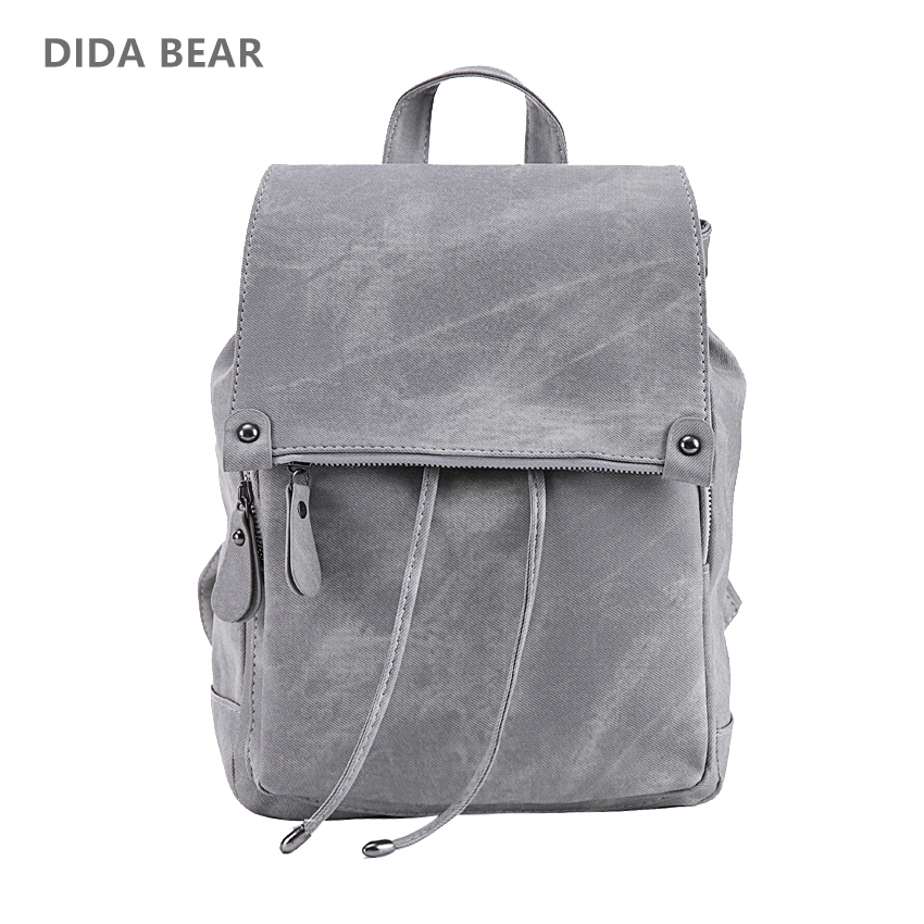 DIDA BEAR Brand Women Leather Backpacks School Bag for Teenage Girls Female Fashion Rucksack Mochila Grey Black Travel Backpack fashion gold leather backpack women black vintage large bag for female teenage girls school bag solid backpacks mochila xa56h