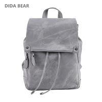 DIDA BEAR Brand Women Leather Backpacks School Bag for Teenage Girls Female Fashion Rucksack Mochila Grey Black Travel Backpack