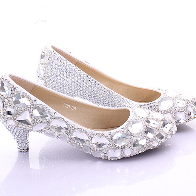 Spring Elegant Middle Heel Bridesmaid Shoes New Style Rhinstone Crystal Bridal Wedding Shoes Party Prom Shoes