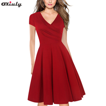 Women Vintage Tunic Solid Red Cap Sleeve V-Neck Ruffle Work Casual Tea Party A Line Skater Cross Wrap Dress цена и фото