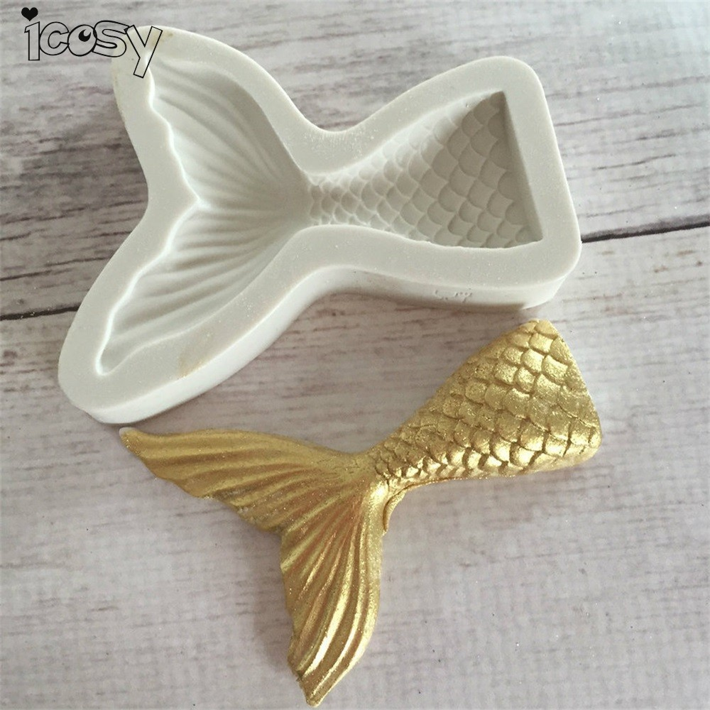 Small/Big Cute Mermaid Tail Fondant Cake Silicone Mold Cake Decorating Kitchen Baking Tools Halloween Chocolate Candy Molds DIY